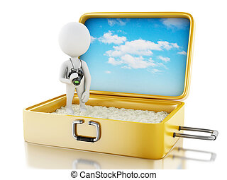 3d white people tourist with camera in a travel suitcase. -...