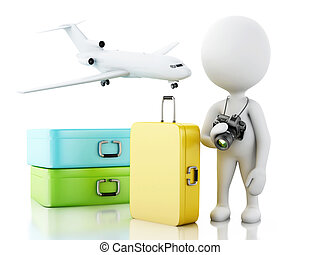 3d White people tourist with travel suitcases. - 3d renderer...