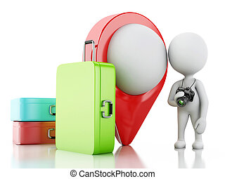 3d White people tourist with travel suitcases and camera. -...