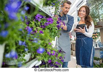 Florist Looking At Female Colleague Using Tablet Computer -...