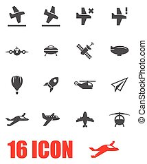 Vector grey airplane icon set