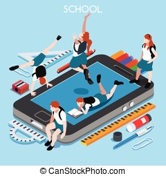 School Devices 01 People Isometric - School Devices Set 01...