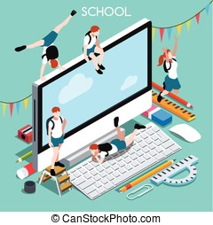 School Devices 02 People Isometric - School Devices Set 02...