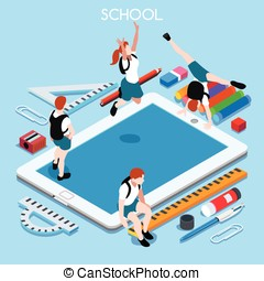 School Devices 03 People Isometric - School Devices Set 03...