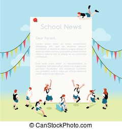 School Letter Template Isometric - School Magazine Letter...