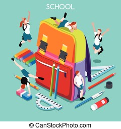 School Set 01 People Isometric - School Stationery Set 01...