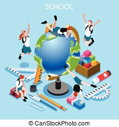School Set 02 People Isometric - School Stationery Set 02....