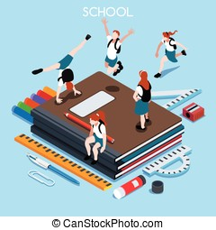 School Set 04 People Isometric - School Stationery Set 04...