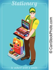 Stationer Poster People Isometric - Stationer Poster with...
