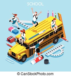 School Set 06 People Isometric - School Stationery Set 06...
