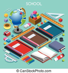 School Set 07 People Isometric - School Stationery Set 07...