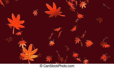 Fallen Leaves - Loop able Fallen Leaves On Brown Background.