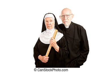 Angry priest and nun - Portrait of angry priest and nun in...