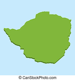 3D map on blue water background of Zimbabwe - A 3D map on...