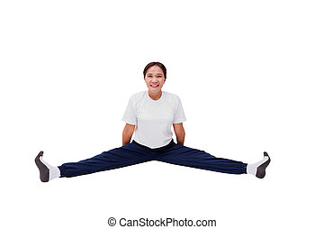 exercise - Asian fat woman sits stretches and exercise