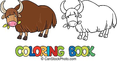 Coloring book of funny wild yak - Coloring book or coloring...