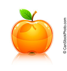 glossy glass yellow apple fruit with leaf - vector...