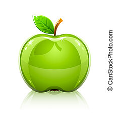 glossy glass green apple with leaf -