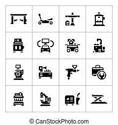 Set icons of car service equipment isolated on white