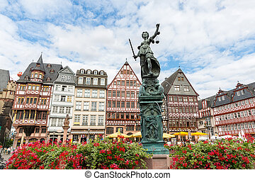 Town square romerberg Frankfurt Germany - old town square...