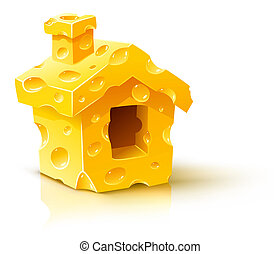creative concept - small house made of yellow porous cheese