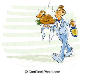 waiter bearing a dish with cooked bird and bottle of drink -...