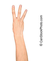 male hand is showing three fingers isolated on white...
