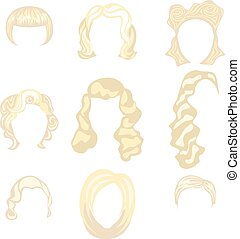 Set of  blond hair styling blonde hairstyles