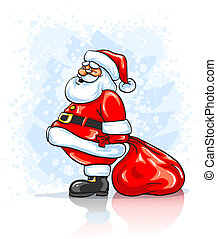 Santa Claus with big red sack of Christmas gifts
