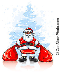Santa Claus with two sacks of Christmas gifts - Merry Santa...