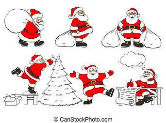 set of cheerful christmas Santa Clauses in different poses