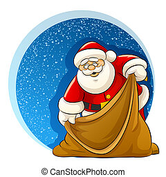 Santa Claus with empty sack for christmas gifts -