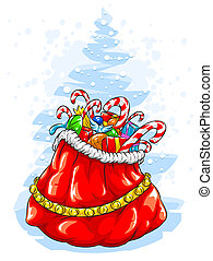 Red Santa Claus\' sack with Christmas gifts