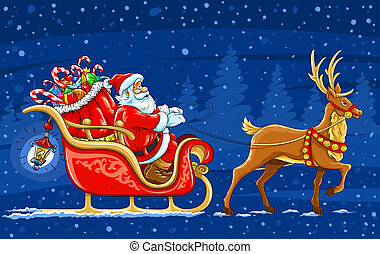 Christmas Santa Claus moving on the sledge with reindeer and...
