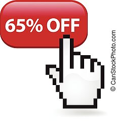 65 Percent Off Button - Sixty five percent off button with a...