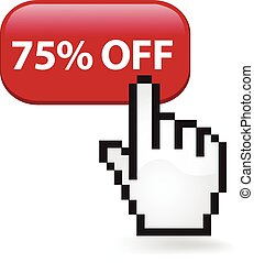75 Percent Off Button - Seventy five percent off button with...