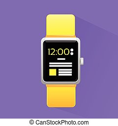 Smart Watch Electronic Device Icon Flat Design Vector -...
