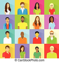 Profile Set Icon Avatar Mix Race Ethnic Man and Woman Portrait Casual Person Colorful Silhouette Face