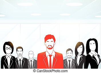 Red Businessman Silhouette, Black Business People Group Team...