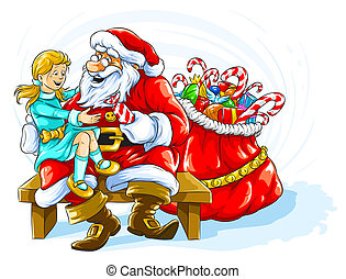 Happy smiling girl with Santa Claus and Christmas gifts
