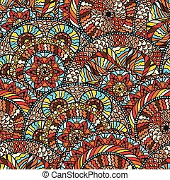 Ethnic seamless pattern with hand drawn ornament.