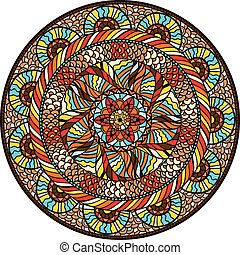 Ethnic round pattern with hand drawn ornament
