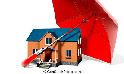red umbrella, protecting new private house