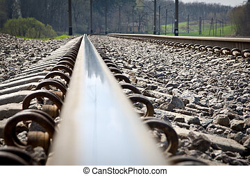 Railroad tracks at a train station - railroad switching off...