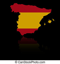 Spain map flag with reflection illustration