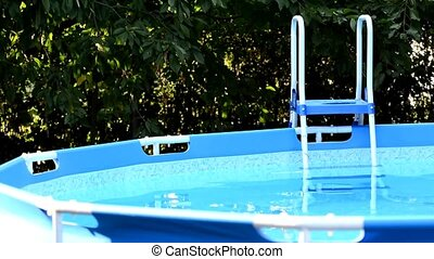 Swimming pool - Garden swimming pool with stepladder.