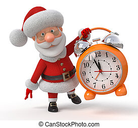 Santa Claus with an alarm clock - The fantastic grandfather...