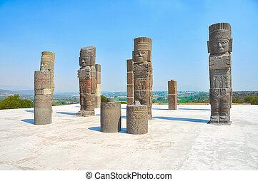 Toltec, pirámide,  quetzalcoatl, guerreros,  México