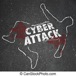 Cyberattack Chalk Outline Hacking Computer Network Internet...