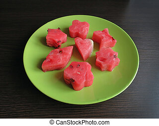 Tasty watermelon on a green plate